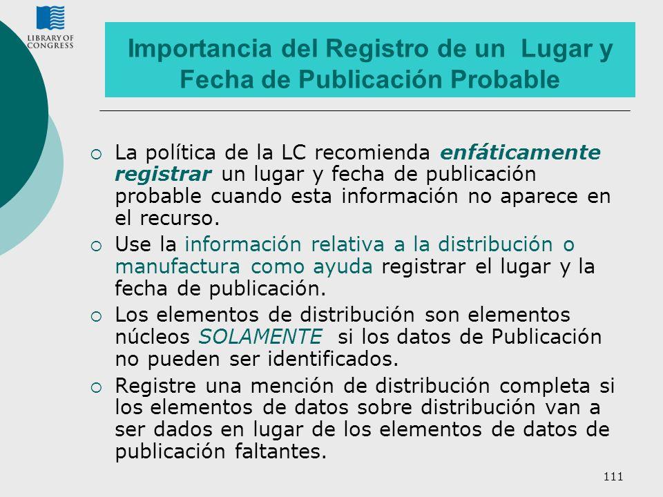 Importancia del Registro de un Lugar y Fecha de Publicación Probable