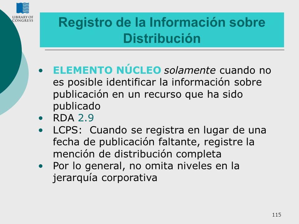 Registro de la Información sobre Distribución