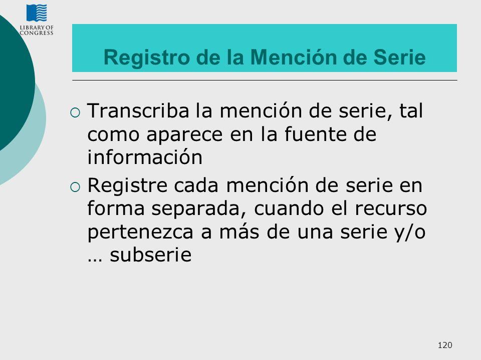 Registro de la Mención de Serie