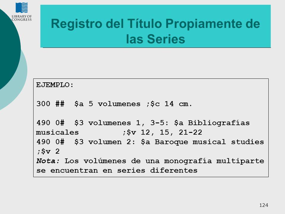 Registro del Título Propiamente de las Series