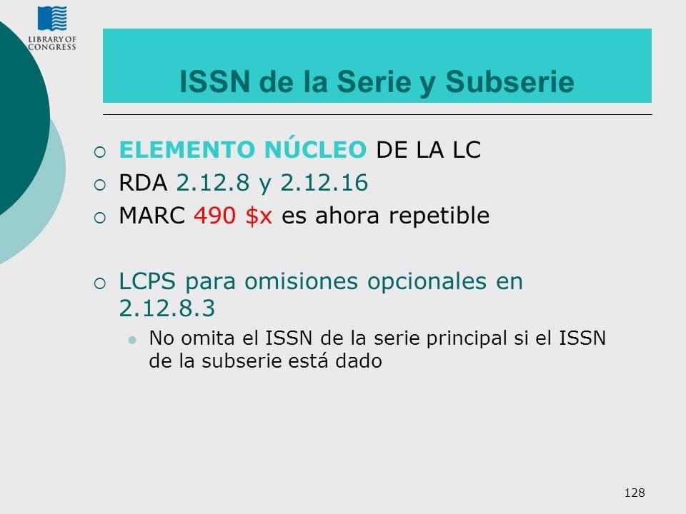 ISSN de la Serie y Subserie