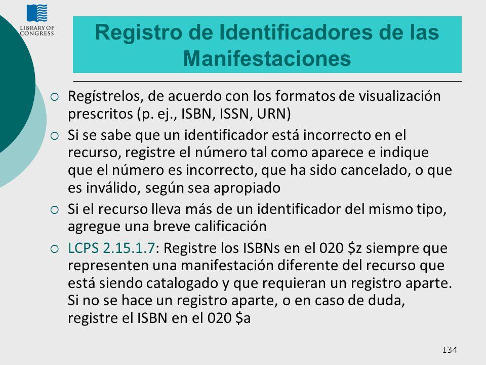 Registro de Identificadores de las Manifestaciones