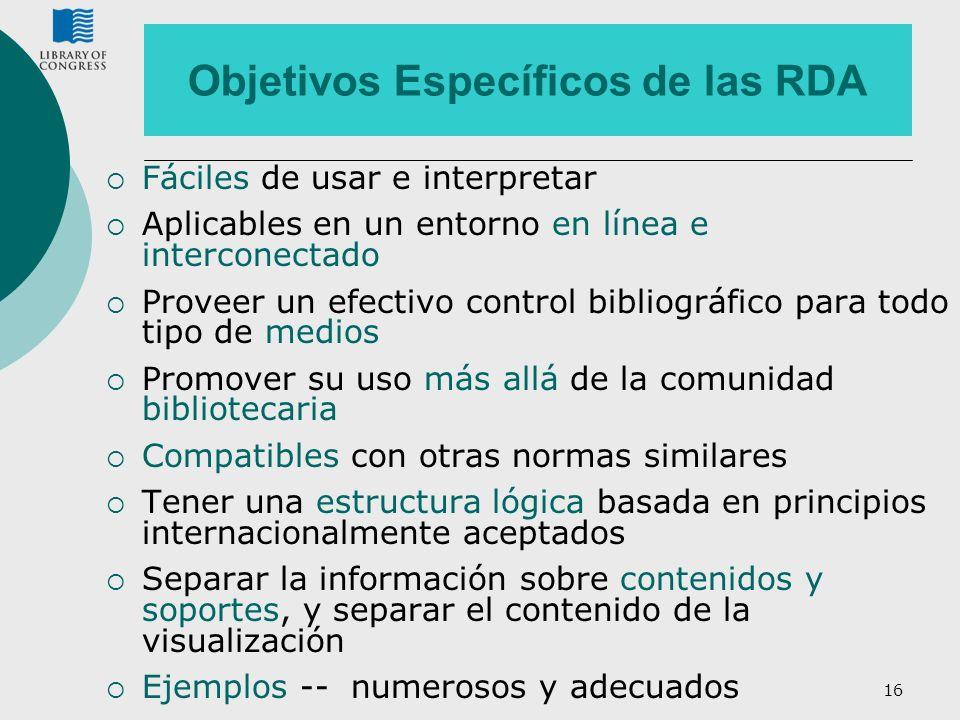 Objetivos Específicos de las RDA
