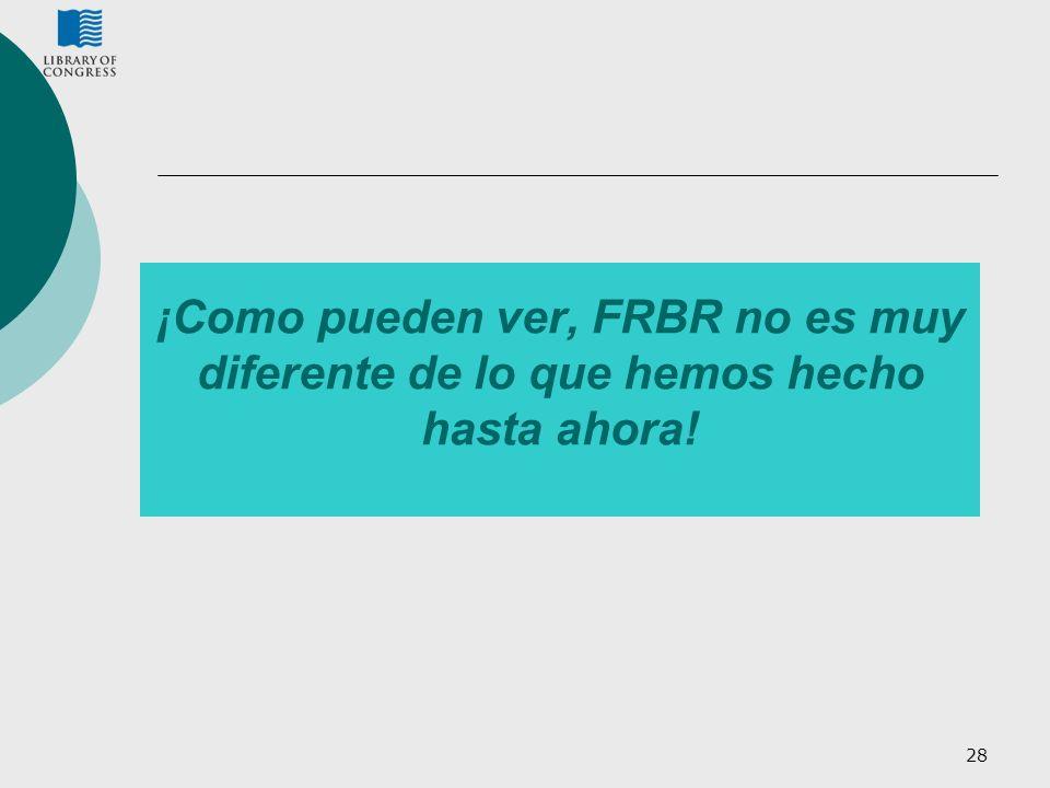 ¡Como pueden ver, FRBR no es muy diferente de lo que hemos hecho hasta ahora!
