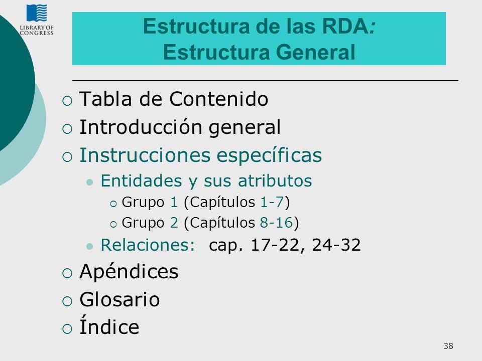 Estructura de las RDA: Estructura General