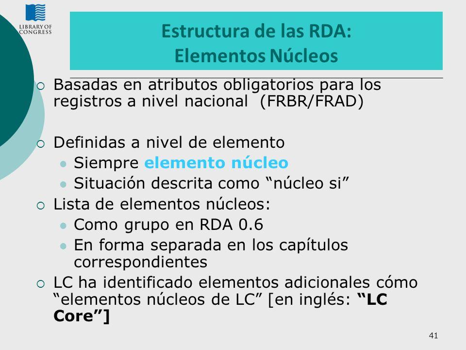 Estructura de las RDA: Elementos Núcleos