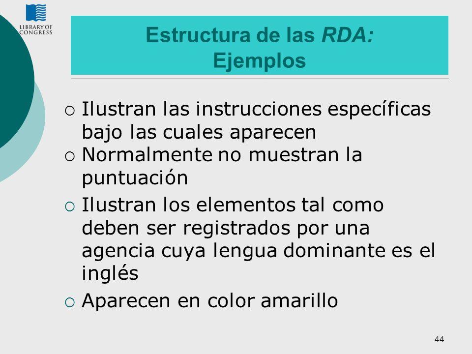 Estructura de las RDA: Ejemplos