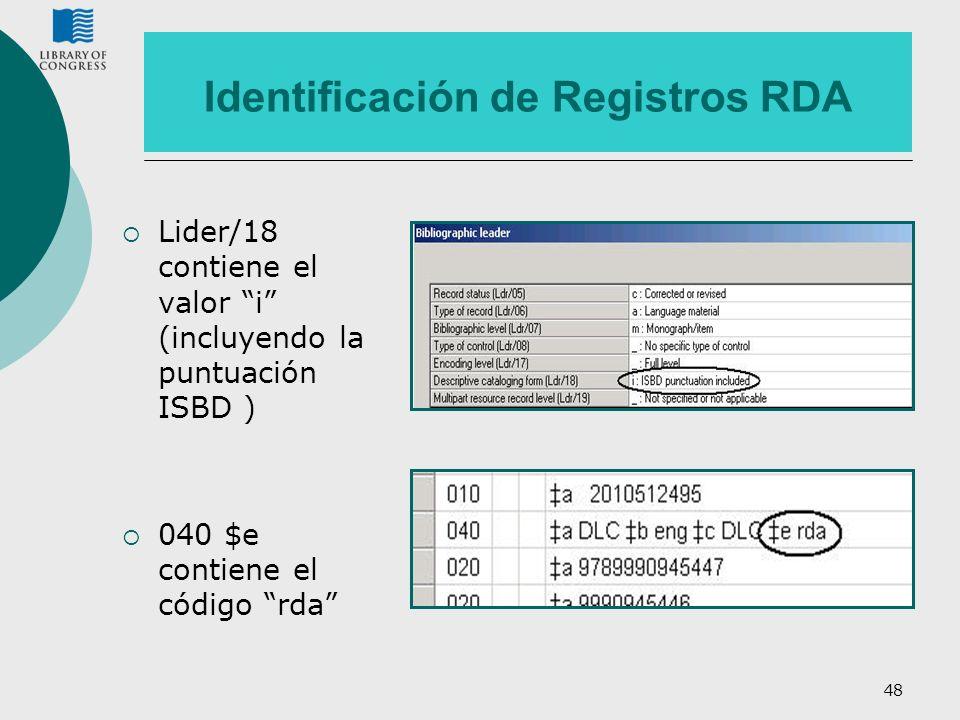 Identificación de Registros RDA