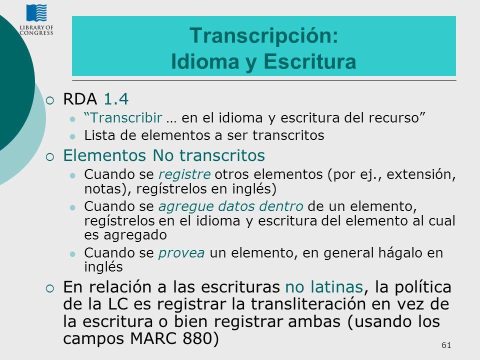 Transcripción: Idioma y Escritura