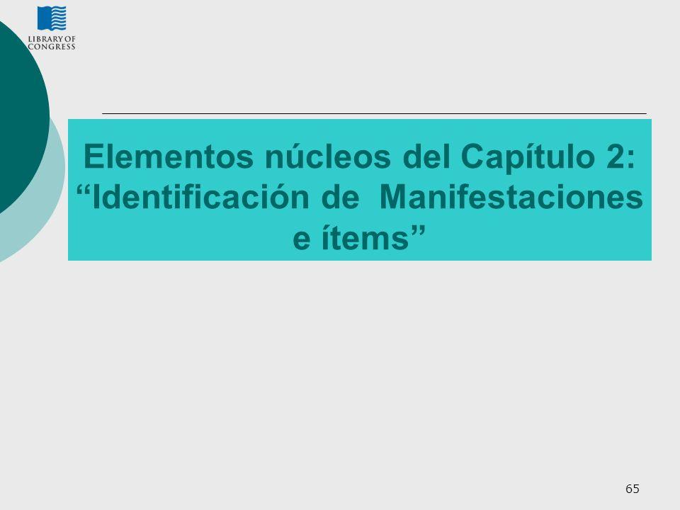 Elementos núcleos del Capítulo 2: Identificación de Manifestaciones e ítems
