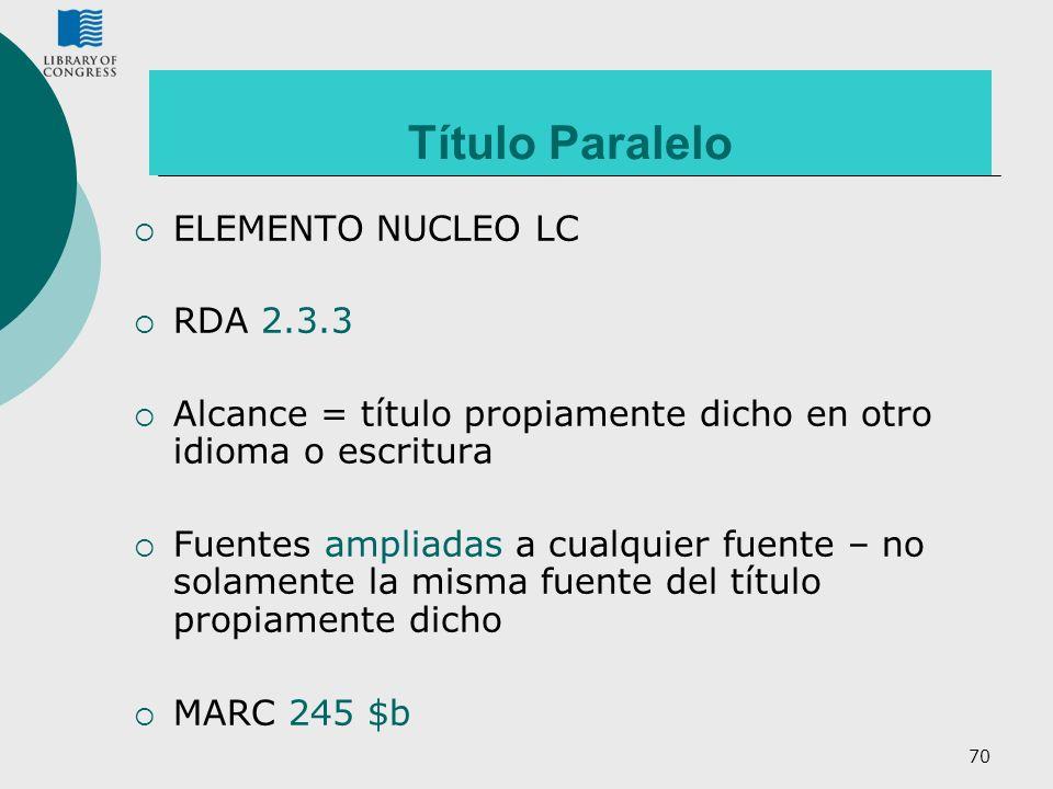 Título Paralelo ELEMENTO NUCLEO LC RDA 2.3.3