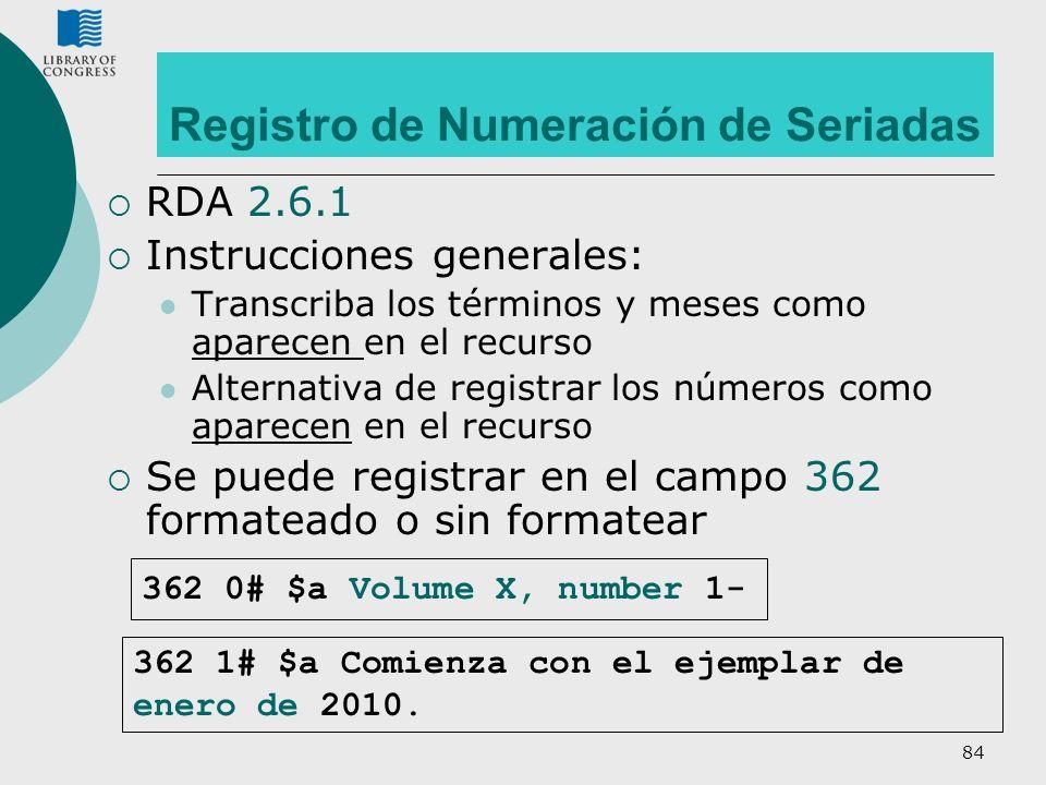 Registro de Numeración de Seriadas