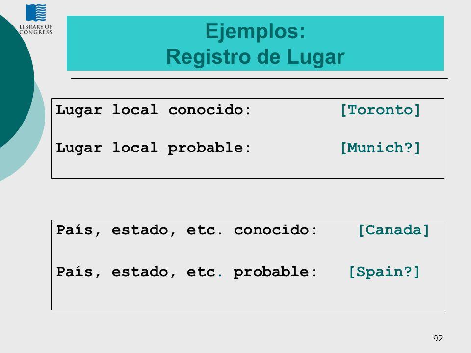 Ejemplos: Registro de Lugar