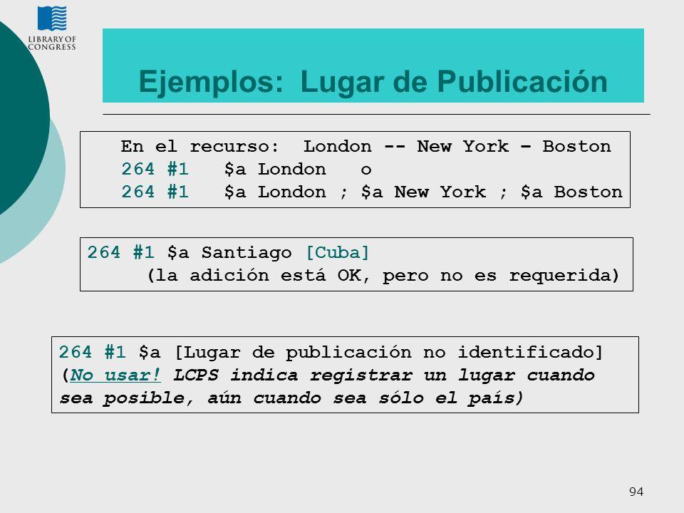 Ejemplos: Lugar de Publicación