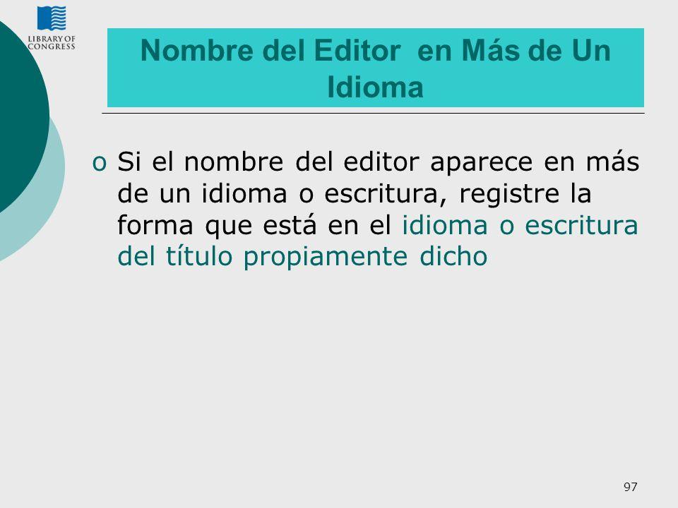 Nombre del Editor en Más de Un Idioma