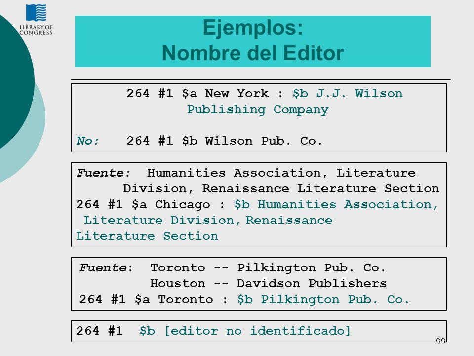 Ejemplos: Nombre del Editor