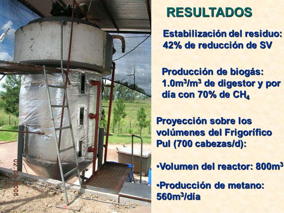 RESULTADOS Estabilización del residuo: 42% de reducción de SV
