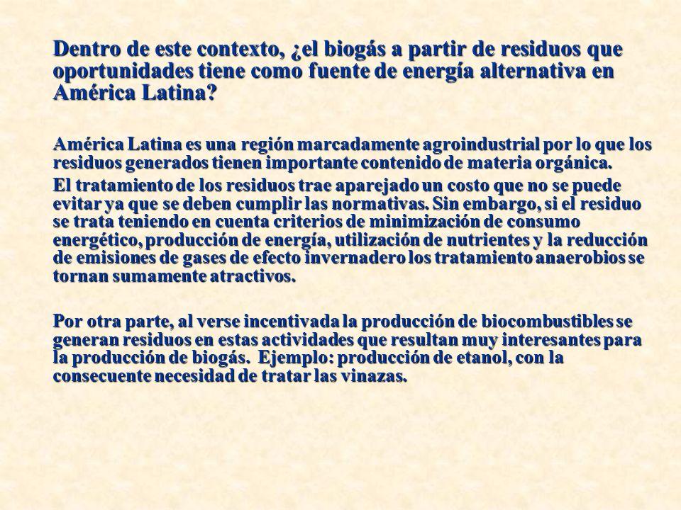 Dentro de este contexto, ¿el biogás a partir de residuos que oportunidades tiene como fuente de energía alternativa en América Latina