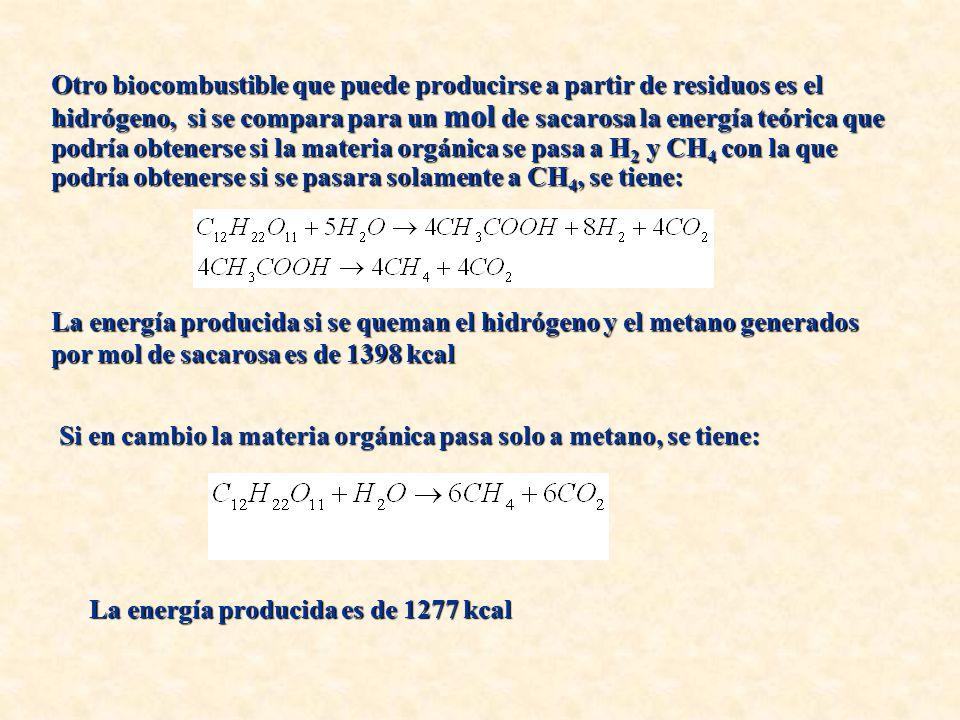 Otro biocombustible que puede producirse a partir de residuos es el hidrógeno, si se compara para un mol de sacarosa la energía teórica que podría obtenerse si la materia orgánica se pasa a H2 y CH4 con la que podría obtenerse si se pasara solamente a CH4, se tiene: