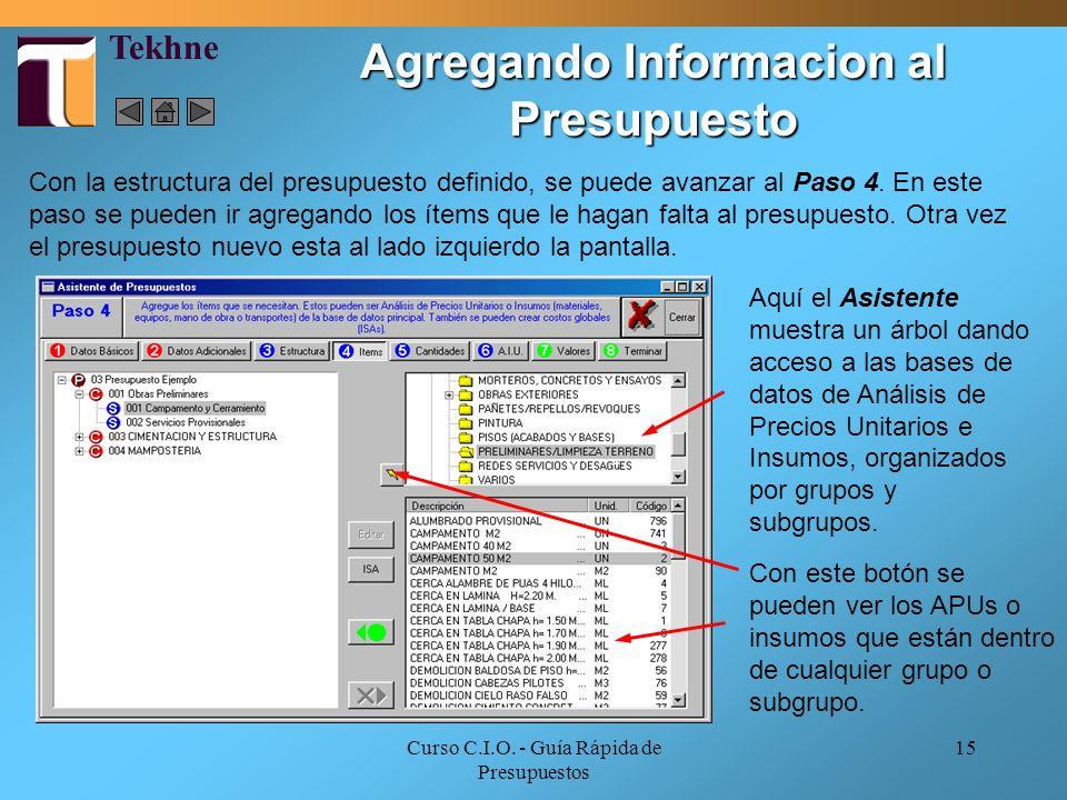 Agregando Informacion al Presupuesto