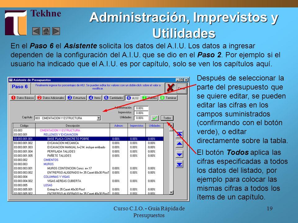 Administración, Imprevistos y Utilidades