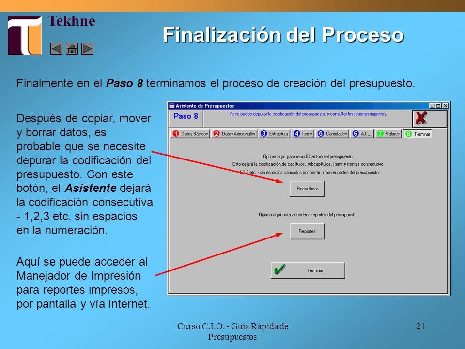 Finalización del Proceso