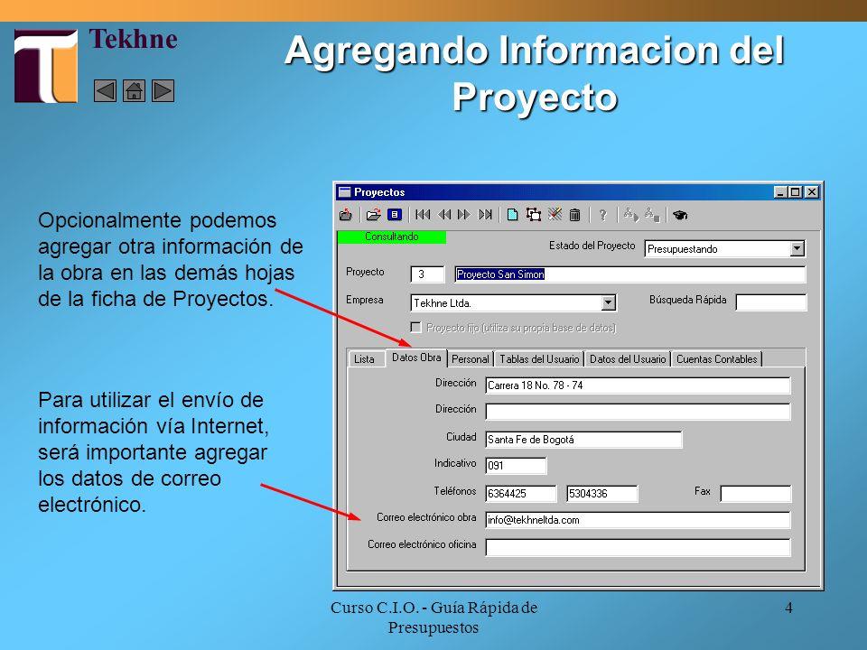 Agregando Informacion del Proyecto