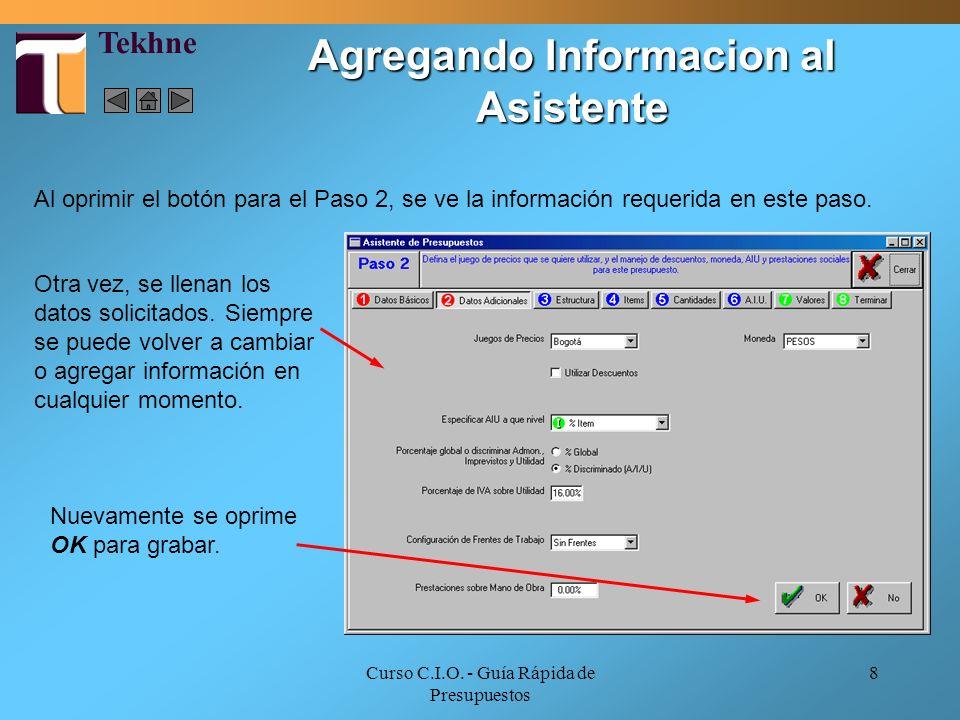 Agregando Informacion al Asistente