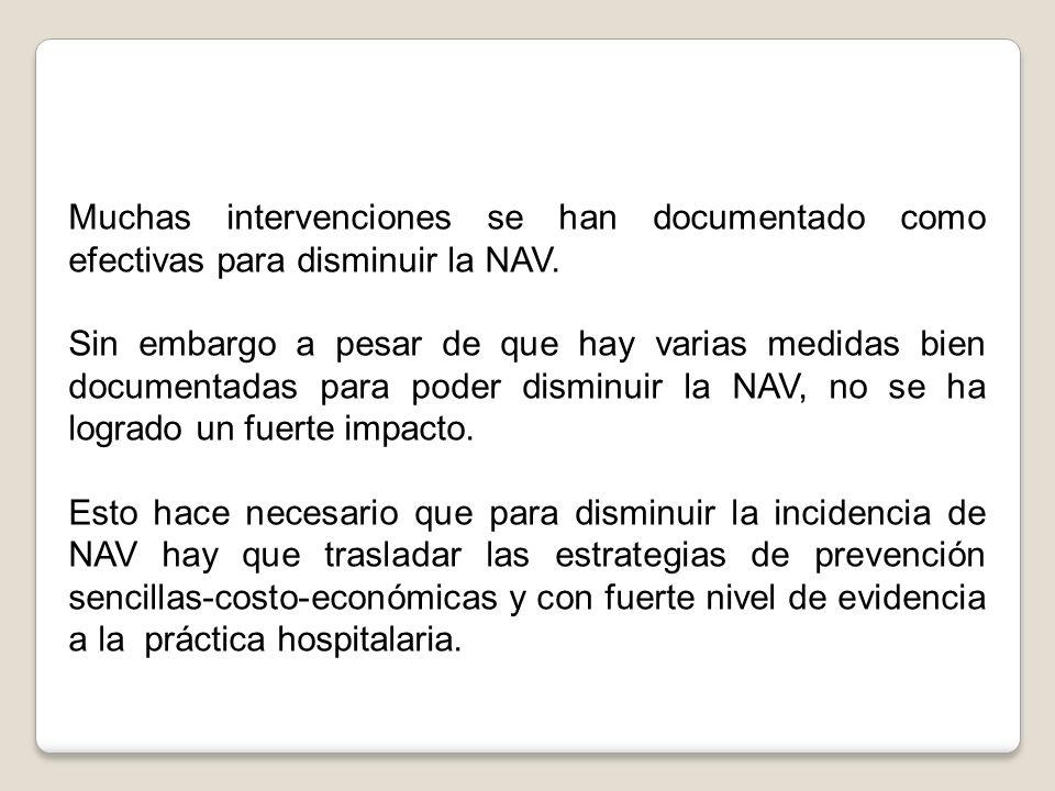 Muchas intervenciones se han documentado como efectivas para disminuir la NAV.