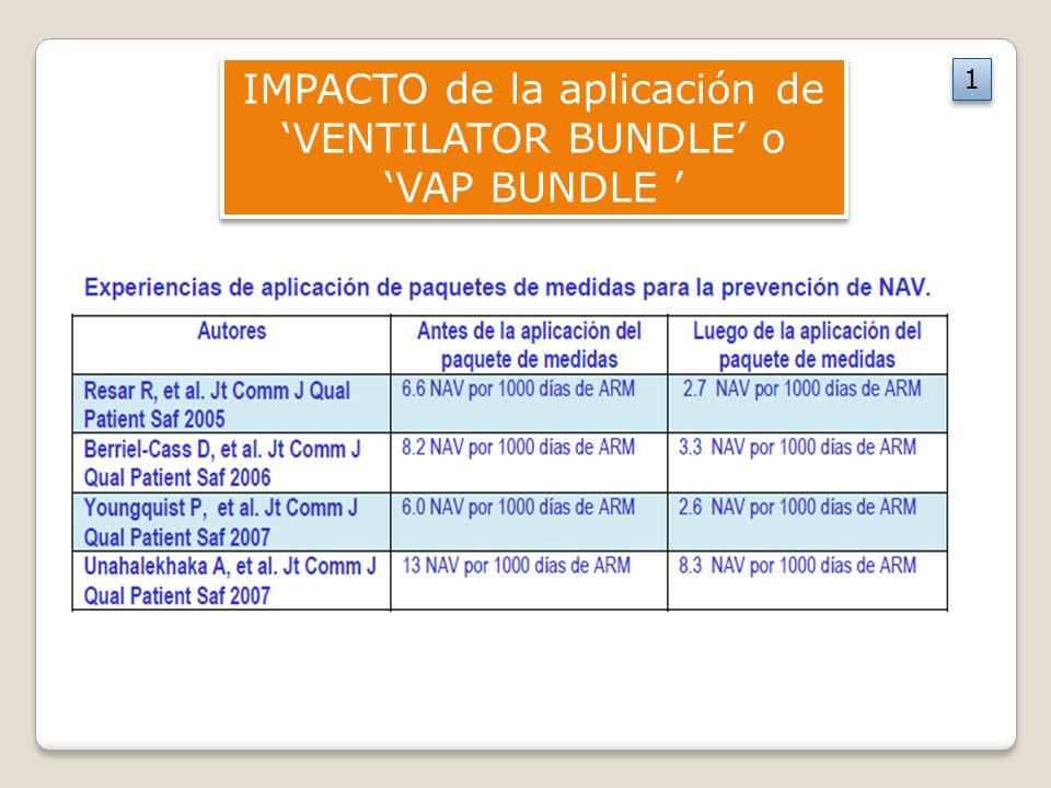 IMPACTO de la aplicación de 'VENTILATOR BUNDLE' o 'VAP BUNDLE '