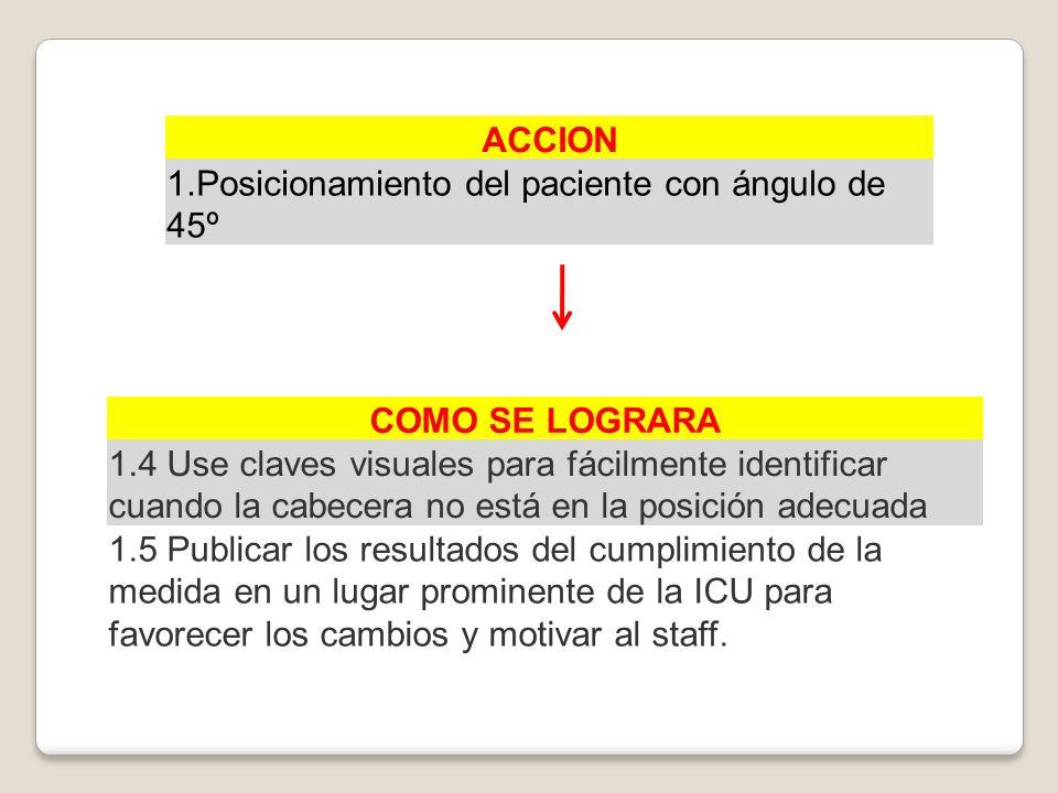 ACCION 1.Posicionamiento del paciente con ángulo de 45º. COMO SE LOGRARA.
