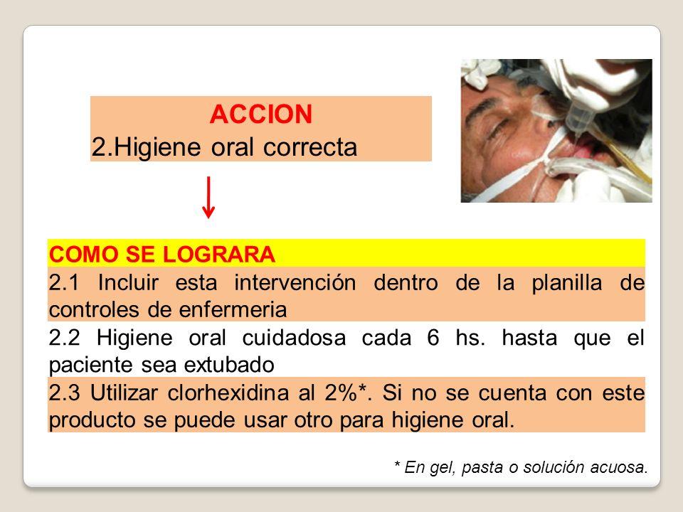 ACCION 2.Higiene oral correcta COMO SE LOGRARA