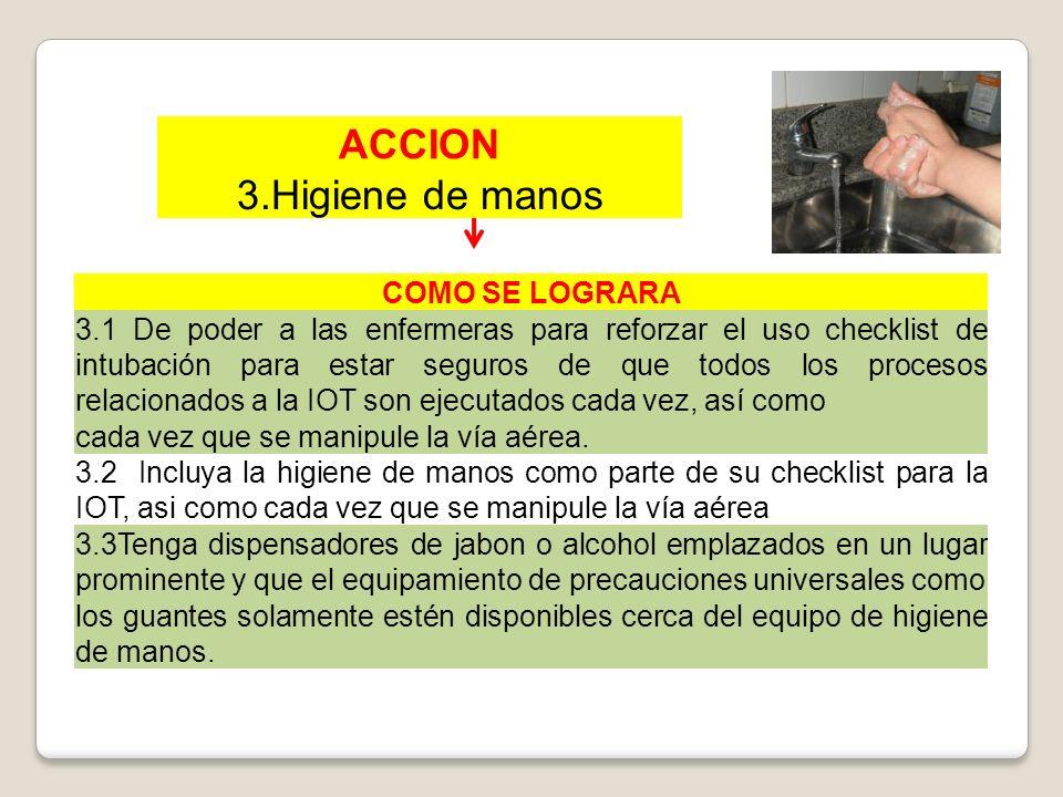 ACCION 3.Higiene de manos COMO SE LOGRARA