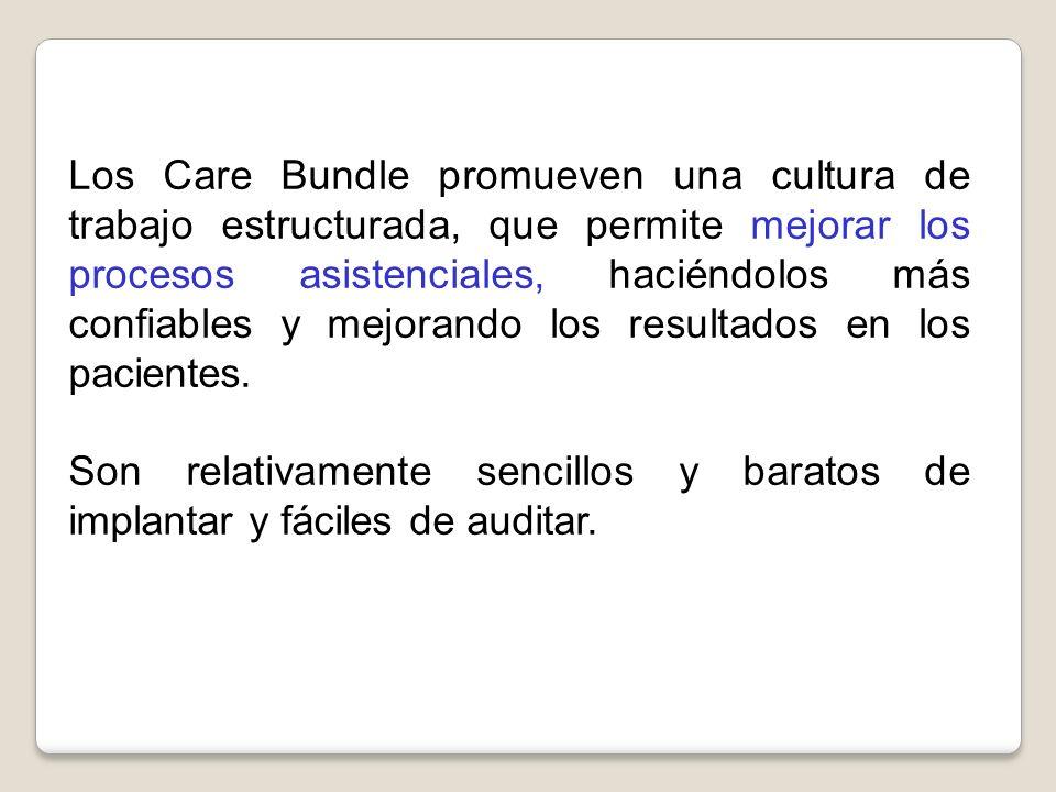 Los Care Bundle promueven una cultura de trabajo estructurada, que permite mejorar los procesos asistenciales, haciéndolos más confiables y mejorando los resultados en los pacientes.