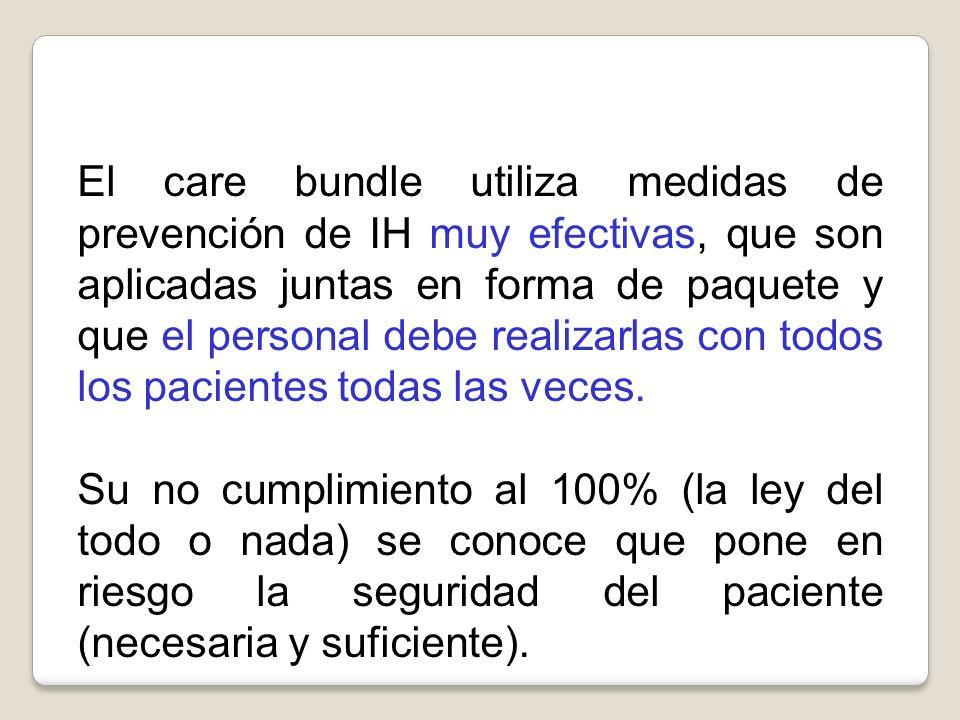 El care bundle utiliza medidas de prevención de IH muy efectivas, que son aplicadas juntas en forma de paquete y que el personal debe realizarlas con todos los pacientes todas las veces.
