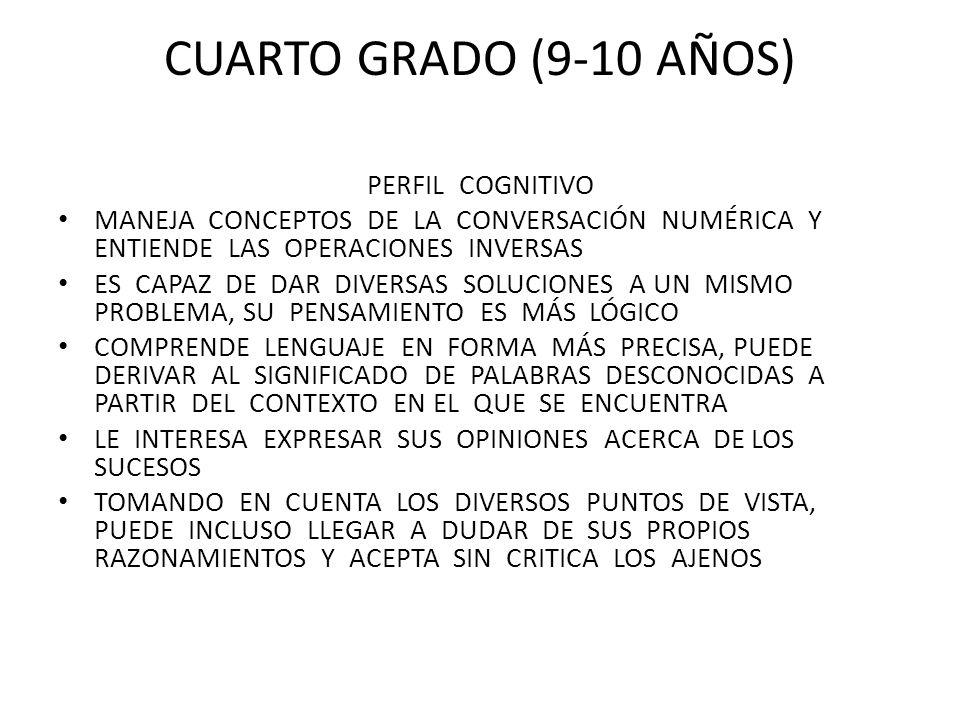 cuarto grado (9-10 años) perfil cognitivo
