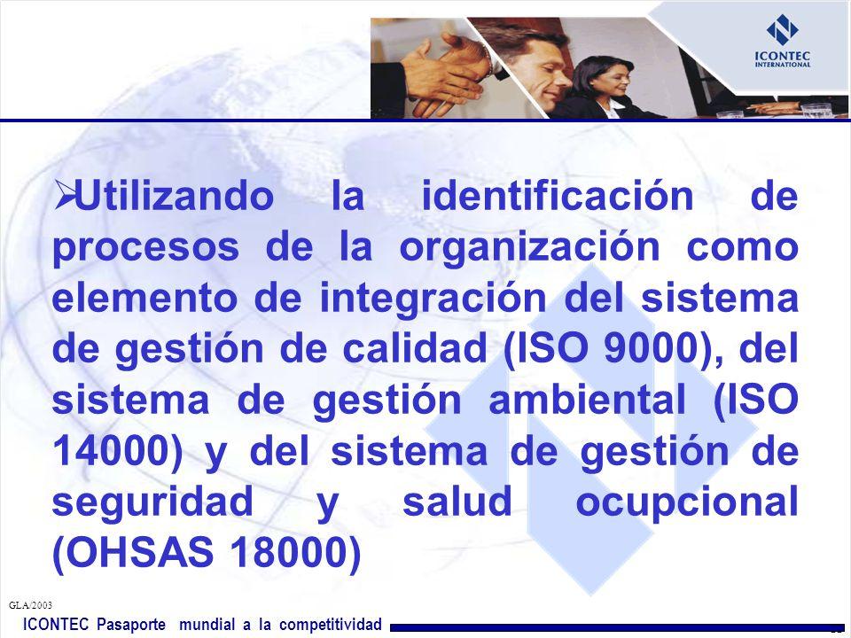Utilizando la identificación de procesos de la organización como elemento de integración del sistema de gestión de calidad (ISO 9000), del sistema de gestión ambiental (ISO 14000) y del sistema de gestión de seguridad y salud ocupcional (OHSAS 18000)