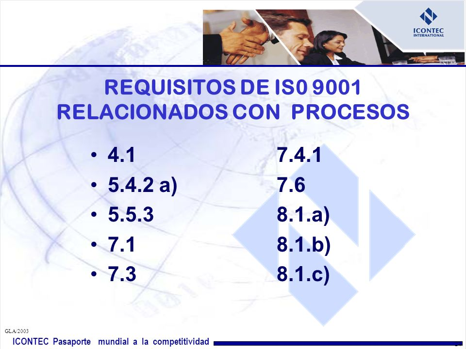 REQUISITOS DE IS0 9001 RELACIONADOS CON PROCESOS