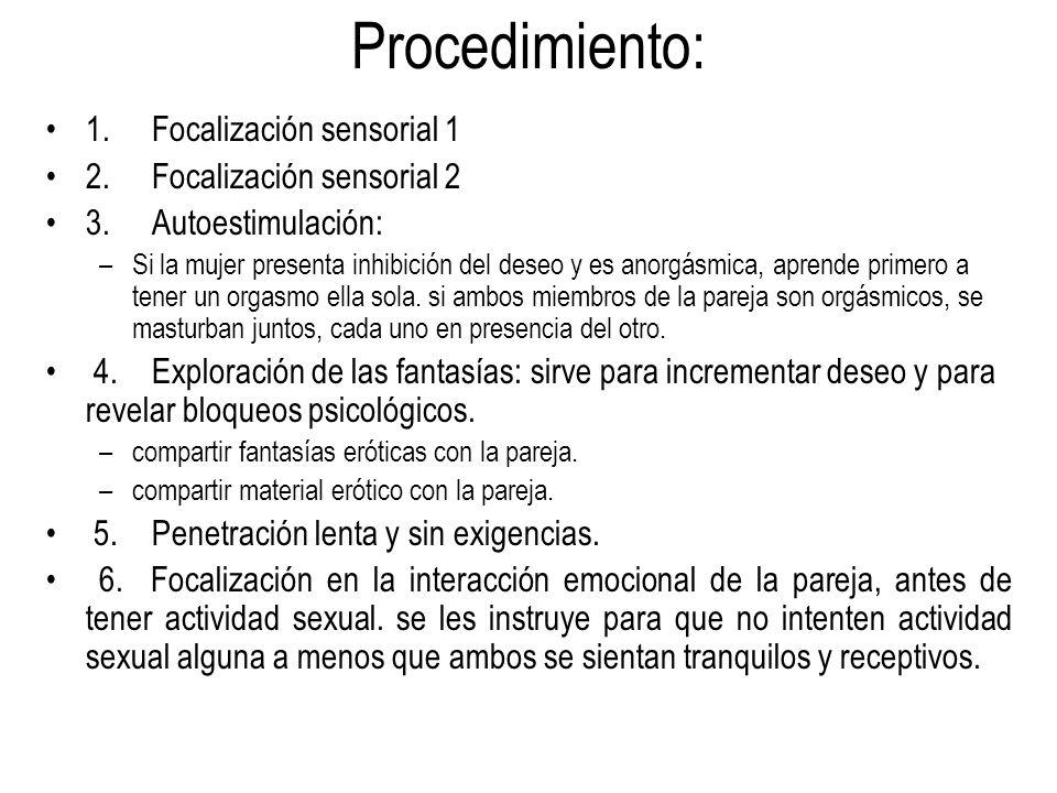 Procedimiento: 1. Focalización sensorial 1 2. Focalización sensorial 2