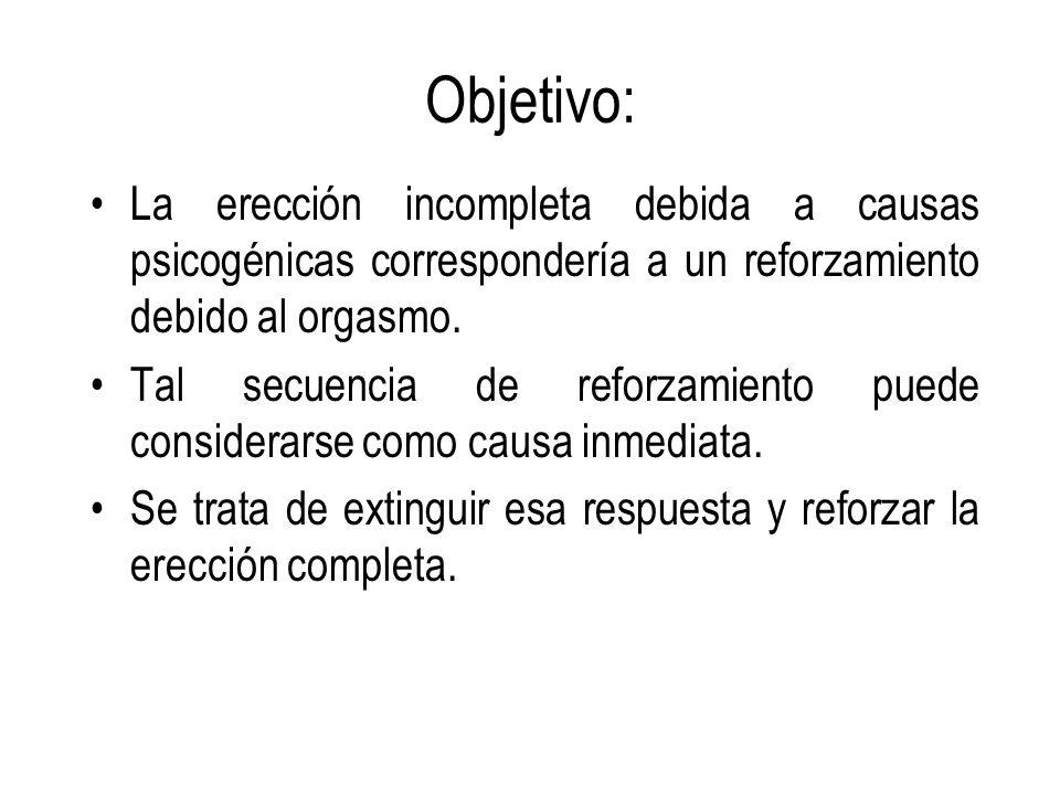 Objetivo: La erección incompleta debida a causas psicogénicas correspondería a un reforzamiento debido al orgasmo.
