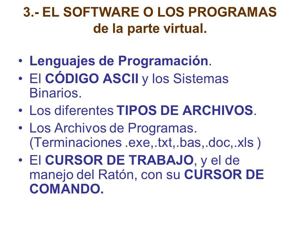3.- EL SOFTWARE O LOS PROGRAMAS de la parte virtual.