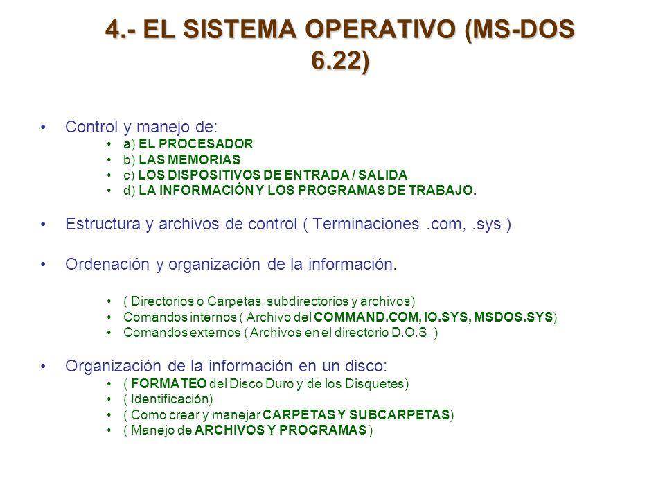 4.- EL SISTEMA OPERATIVO (MS-DOS 6.22)