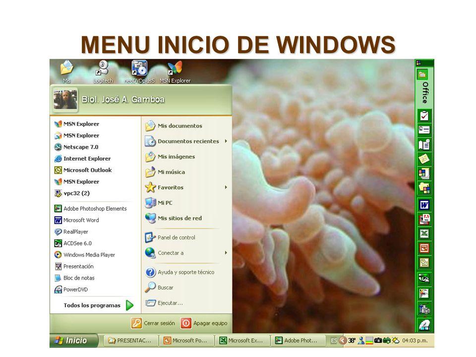 MENU INICIO DE WINDOWS