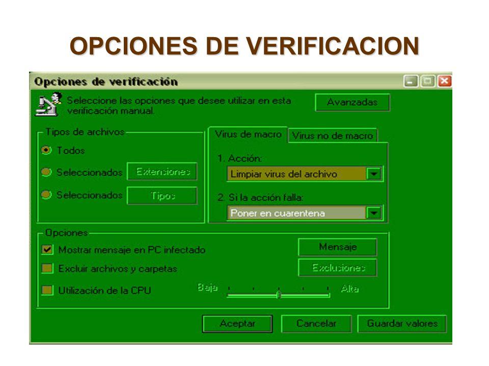 OPCIONES DE VERIFICACION