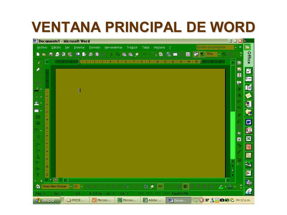 VENTANA PRINCIPAL DE WORD