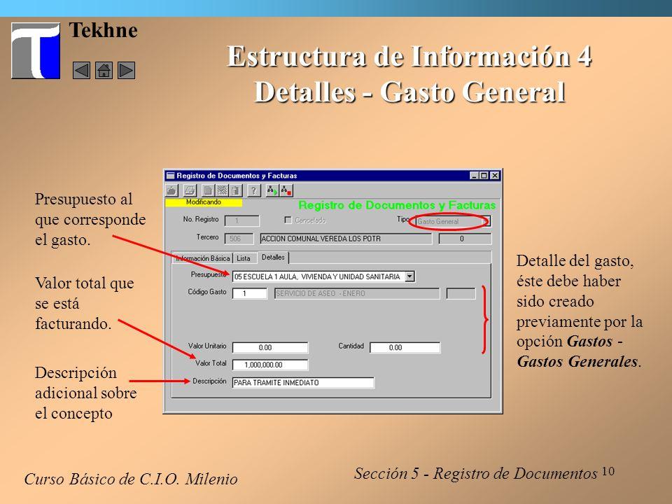 Estructura de Información 4 Detalles - Gasto General