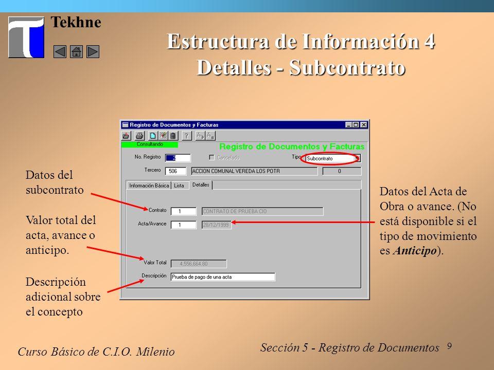 Estructura de Información 4 Detalles - Subcontrato