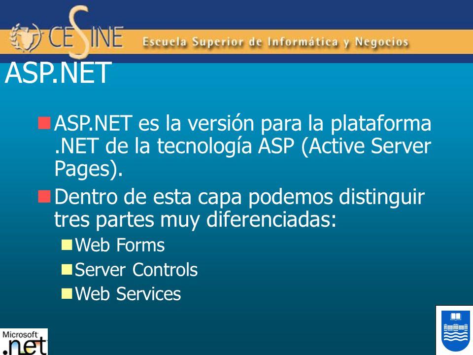 ASP.NET ASP.NET es la versión para la plataforma .NET de la tecnología ASP (Active Server Pages).