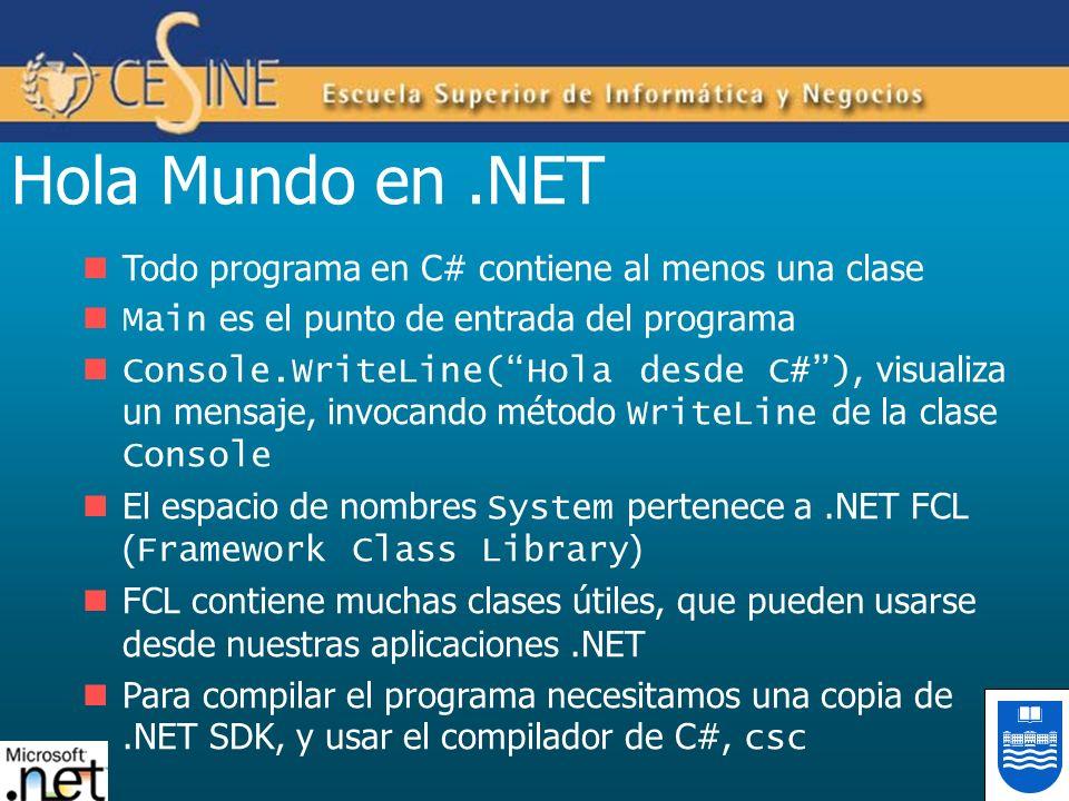 Hola Mundo en .NET Todo programa en C# contiene al menos una clase