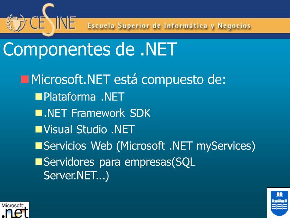 Componentes de .NET Microsoft.NET está compuesto de: Plataforma .NET